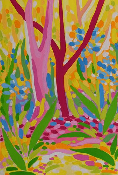 Sandra-Suarez-Atardecer-rosa-y-amarillo-en-el-bosque-20-x-29,5-cm-Gouache-sobre-papel