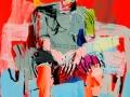 1 Espiral_LopezDavis_Hombre_sentado_en_un_banco1_70x100cm_Acrylique_encre_papier_2016